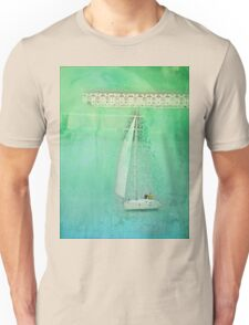 White Sail Boat Plus Green Blue Texture Unisex T-Shirt