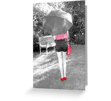 A Girl In Red & Black Greeting Card