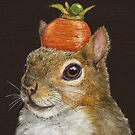 Squirrel with carrot and pea by Vicki Sawyer