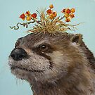 Otter with Bittersweet Hat by Vicki Sawyer