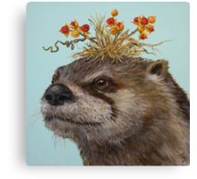 Otter with Bittersweet Hat Canvas Print