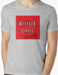 Netflix and chill - condom Mens V-Neck T-Shirt