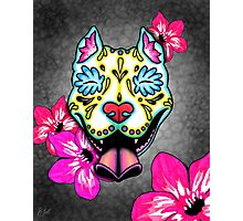 Day of the Dead Slobbering Pit Bull Sugar Skull Dog Photographic Print