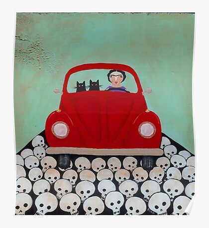 Frida and Cats Road Trip Poster