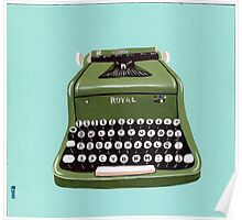 Green Royal Typewriter Poster