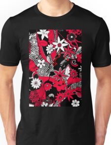 Tangled Collage 1 in Red Black and White Unisex T-Shirt