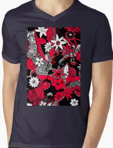 Tangled Collage 1 in Red Black and White Mens V-Neck T-Shirt