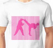 Taekwondo Side Kick Small Text Pink  Unisex T-Shirt