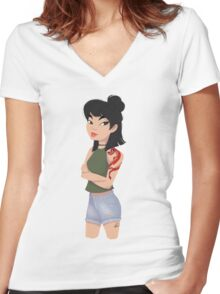 A Girl Worth Fighting For Women's Fitted V-Neck T-Shirt
