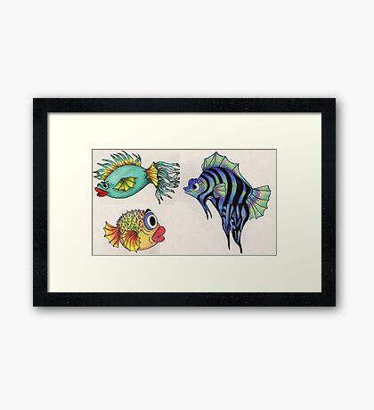 Cartoon Fish Illustration Framed Print