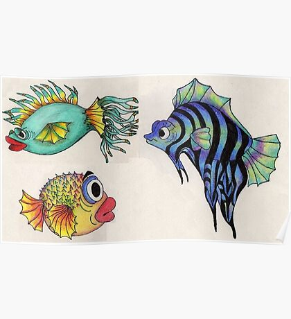 Cartoon Fish Illustration Poster