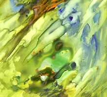 Garden Abstract Art Watercolor Yupo by Rosie Brown