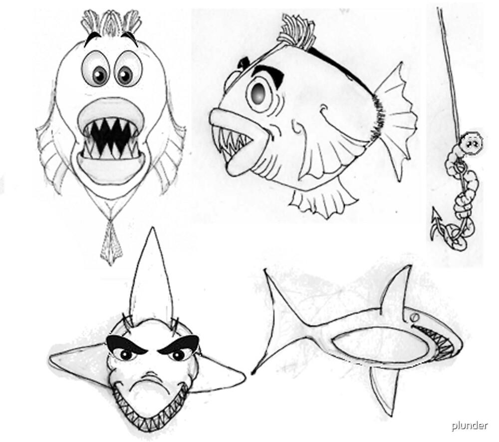 Fish Cartoon Illustration 2 by plunder