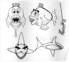 Fish Cartoon Illustration 2 Poster