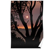 Smokey February sunset - Green Point  Brighton Victoria Australia Poster