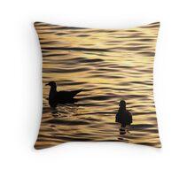 Golden Sunset Gulls Throw Pillow