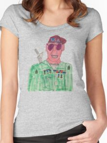 American Hero Soldier  Women's Fitted Scoop T-Shirt