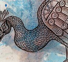 Peacock Blue (for Drawing Day) by Lynnette Shelley