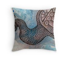 Peacock Blue (for Drawing Day) Throw Pillow