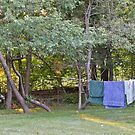 Clothes Line At Dusk - Sun Sets On Damp Towels by Jack McCabe