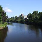 River wye and Hereford cathedral by Robert Lewis