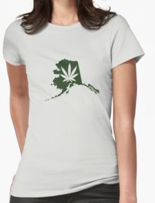 Alaska State Pot Leaf Womens Fitted T-Shirt