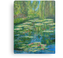 Water Lily pond with weeping willow Canvas Print
