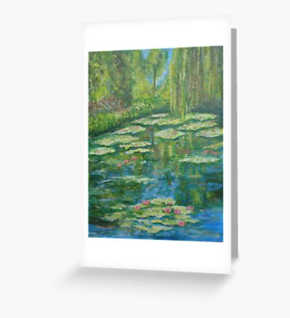 Water Lily pond with weeping willow Greeting Card