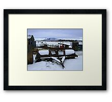 Farmyard metal - Christmas day snowscape Framed Print