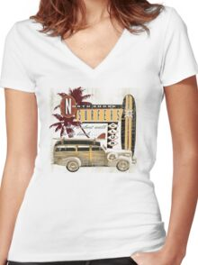 SURF CREW Women's Fitted V-Neck T-Shirt