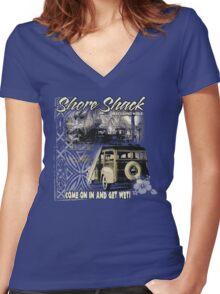 SHORE SHACK Women's Fitted V-Neck T-Shirt