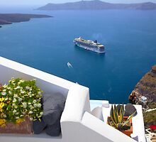 Santorini and Cruise ships by John44