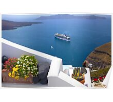 Santorini and Cruise ships Poster