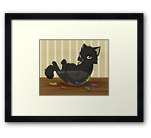 Kitty candy thief Framed Print