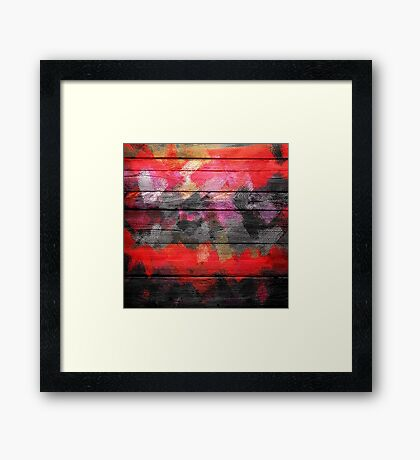 Abstract Color Paint Brush Wood Look Framed Print