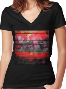 Abstract Color Paint Brush Wood Look Women's Fitted V-Neck T-Shirt
