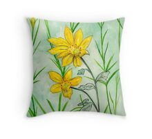 Coffee Cups and Friends Coreopsis Flower Throw Pillow