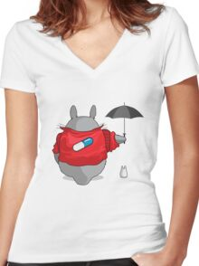 Totoro meets Akira Women's Fitted V-Neck T-Shirt