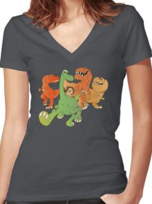 A Crew of Good Dinos Women's Fitted V-Neck T-Shirt
