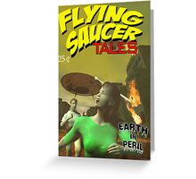 Flying Saucer Tales Fake Pulp Cover Greeting Card