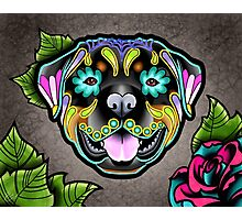Day of the Dead Rottweiler Sugar Skull Dog Photographic Print