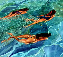 Three swimmers by Freda Surgenor
