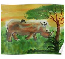 Rhino grazing for  Africa series, watercolor Poster