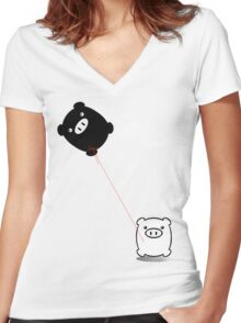 TWINPIGS KITE  Women's Fitted V-Neck T-Shirt