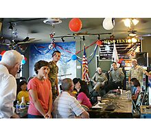 """Lunch with a """"Hero"""" & the children came! The Mess Tent Cafe' Oxman's Santa Fe Springs, CA USA Photographic Print"""