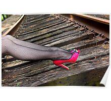 Female legs in fishnet stockings Poster