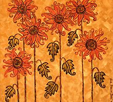 'Fire Blooms' - happiness in paint! by Lisafrancesjudd