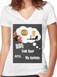 BEER BBQ and REMOTE Women's Fitted V-Neck T-Shirt