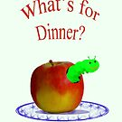 green worm and apple, What's for dinner? by Mary Taylor