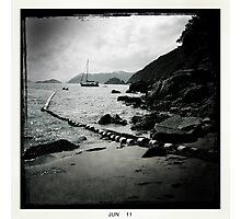 Sailboat off Chung Hom Kok beach Photographic Print